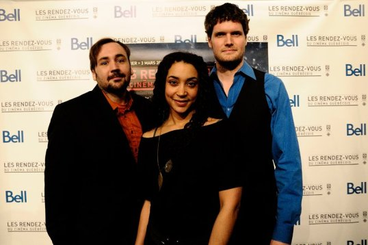 Le producteur Sébastien Croteau, le réalisateur Martin Laroche et l'actrice Marie-Evelyne Lessard lors de la première montréalaise aux Rendez-vous du cinéma québécois.